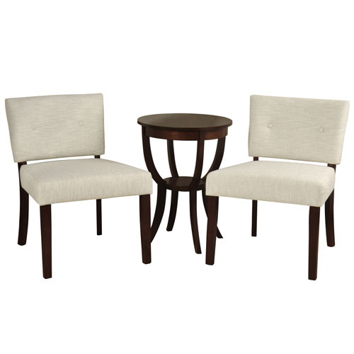 Ivory Silk Road Two-Slipper Chairs with Side Table