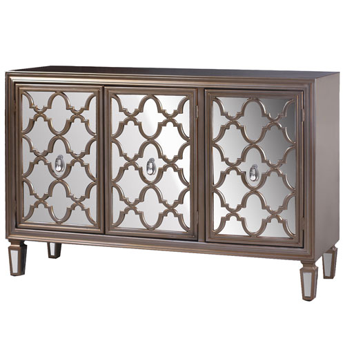Champagne Silver Three-Door Credenza with Mirrored Door Fronts