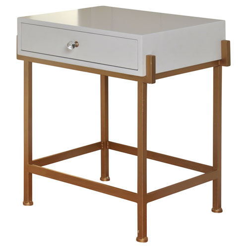StyleCraft White One-Drawer Side Table