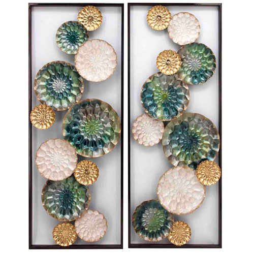 Multicolor Wreathed Composition II Wall Sculptures, Set of 2