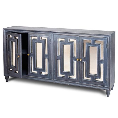 Harp & Finial Linden Charcoal Antique Mirror Door Sideboard