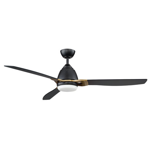 Eris Black and New Aged Brass LED Ceiling Fan with Black Blades