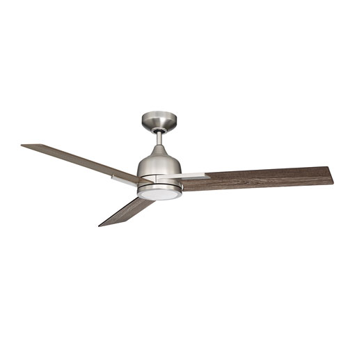 Triton Satin Nickel LED Ceiling Fan with Vintage Oak Blades