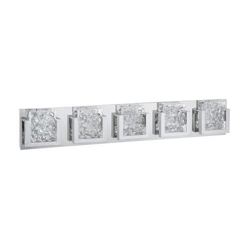 Ice-Lava Chrome Integrated Five-Light LED Bath Vanity