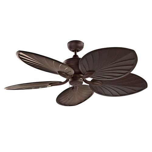 Kendal Lighting Copacabana 52-Inch Oil Rubbed Bronze with Palm Style Walnut Blades Ceiling Fan