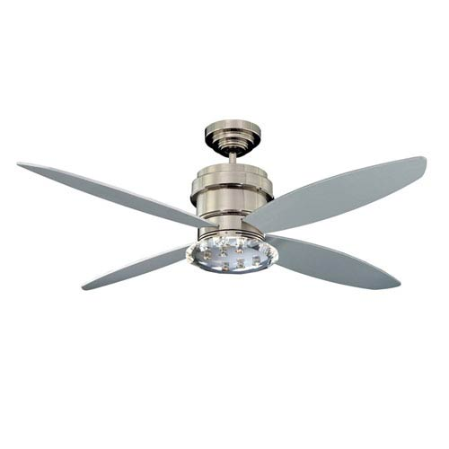 Optica 52-Inch Polished Nickel with High-Gloss Silver Blades Ceiling Fan
