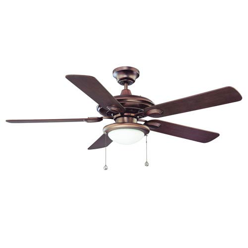 Kendal Lighting Builders Choice 52-Inch Oil Brushed Bronze with Reversible Elmwood and Rubbed Bronze Blades Ceiling Fan