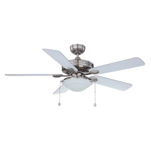 Kendal Lighting Builders Choice 52-Inch Satin Nickel with Reversible Silver and White Blades Ceiling Fan