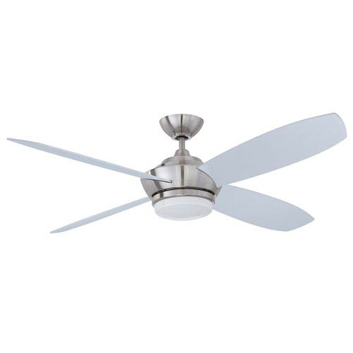 Kendal Lighting Zeta 52-Inch Satin Nickel with Silver Blades Ceiling Fan