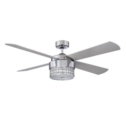 Kendal Lighting Celestra 52-Inch Chrome and Optic Crystal with Silver Blades Ceiling Fan