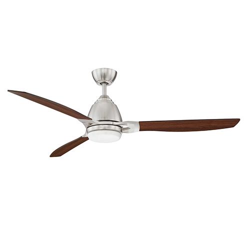 Eris Satin Nickel 52-Inch LED Ceiling Fan with Walnut Blades