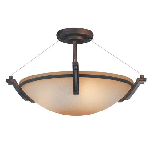 Kendal Lighting Portobello Oil Rubbed Bronze Three-Light 19-Inch Semi-Flush Mount
