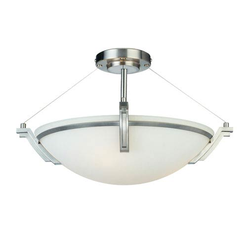 Portobello Satin Nickel Three-Light 19-Inch Semi-Flush Mount
