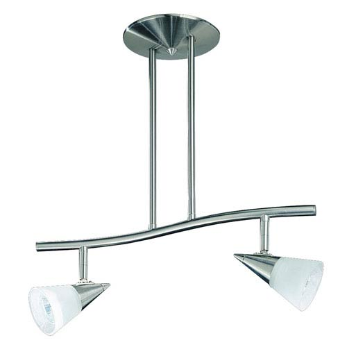 Kendal Lighting Apex Satin Nickel Two-Light 18.5-Inch Fixed Rail