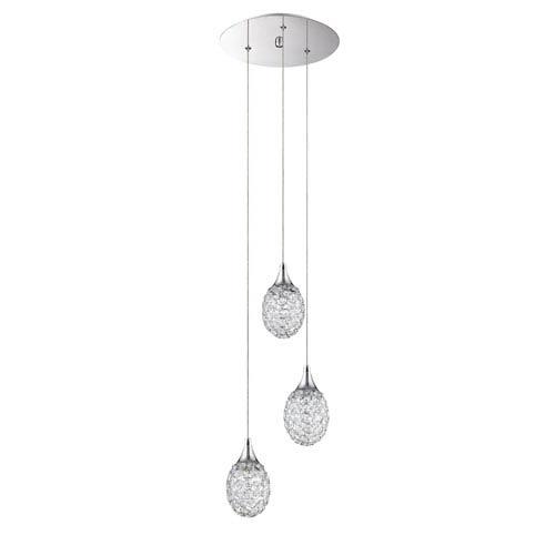 Kendal Lighting Crys Chrome Three-Light 11-Inch Mini-Pendant