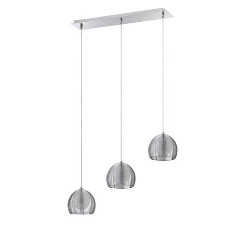 Kendal Lighting La Cage Chrome Three-Light 27-Inch Mini-Pendant