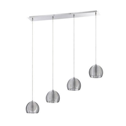 Kendal Lighting La Cage Chrome Four-Light 37-Inch Mini-Pendant