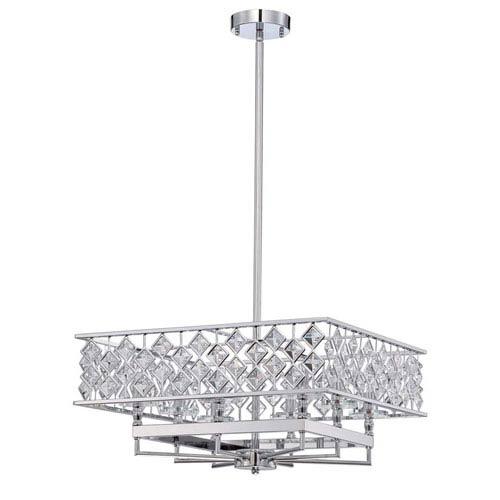 Milano Chrome Eight-Light 21-Inch Chandelier