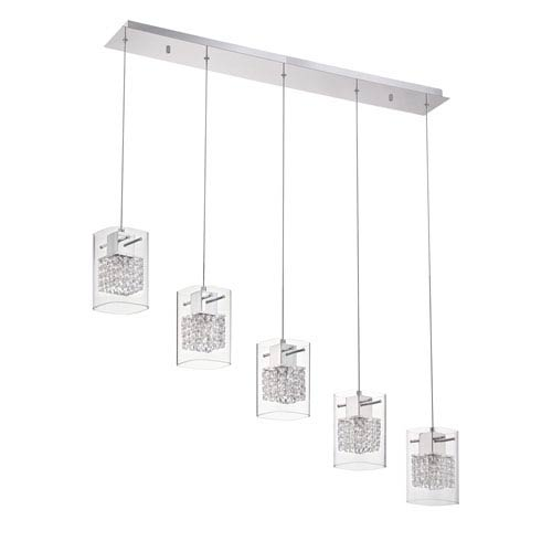 Politan Chrome Five-Light 40-Inch Mini-Pendant