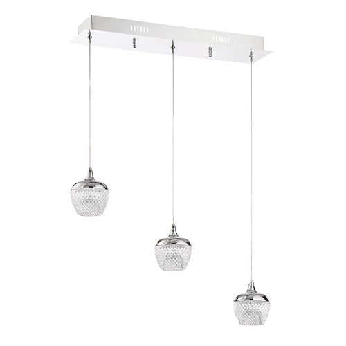 kendal lighting arika chrome three light led linear pendant pf91