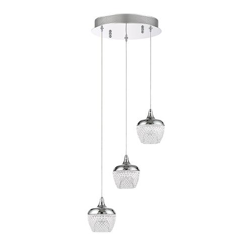 Kendal Lighting Arika Chrome Three-Light LED Pendant