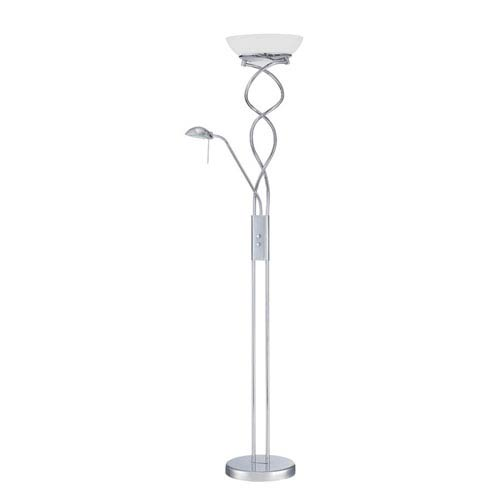 Twist Chrome Two-Light Torchiere with Reading Light