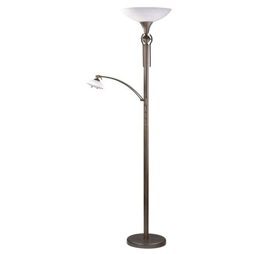Astral Oil Rubbed Bronze with Faux Alabaster Glass One-Light Torchiere with Reading Light