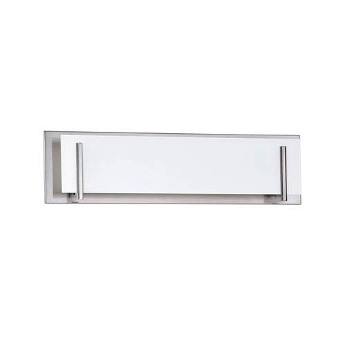 Kendal Lighting Aurora Satin Nickel Four-Light Vanity with White Glass