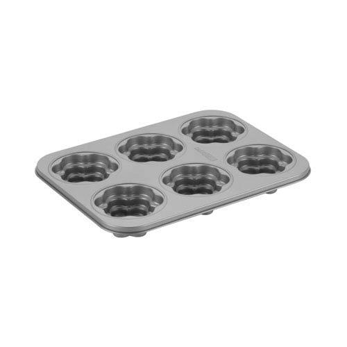 Gray 6-Cup Nonstick Flower Cakelette Pan