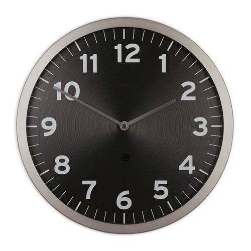 Anytime Black 12.5-Inch Clock