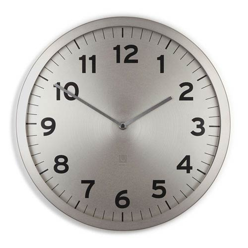 Anytime NIckel 12.5-Inch Clock