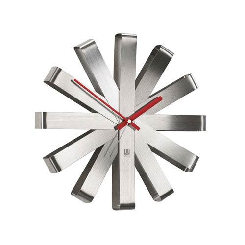 Ribbon Steel 12-Inch Wall Clock