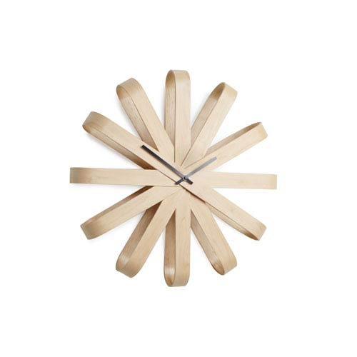 Ribbonwood Natural 20.25-Inch Wall Clock