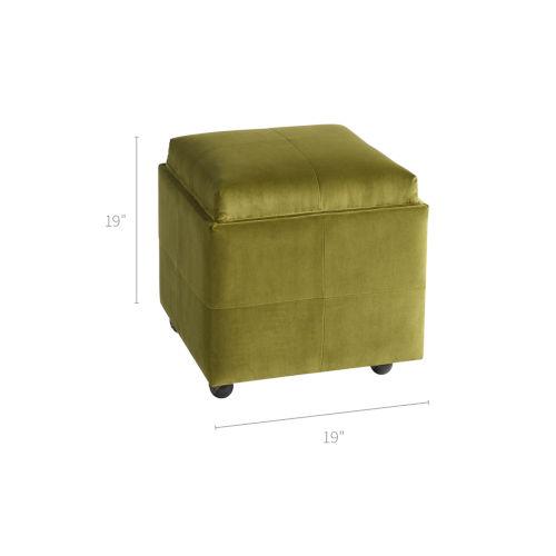 Jasper Green 19-Inch Storage Ottoman