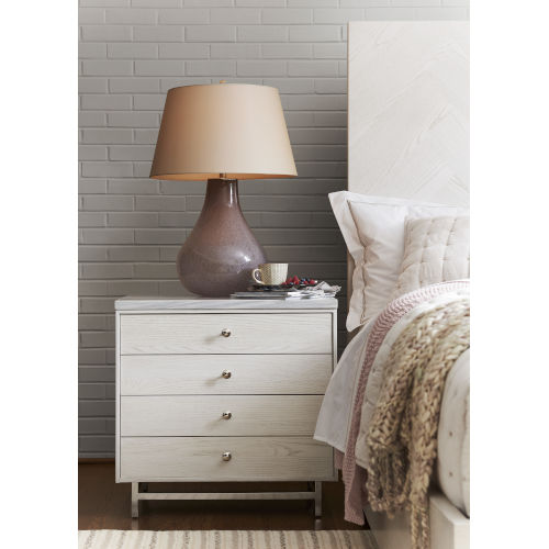 Paradox Ivory Nightstand with Stone Top
