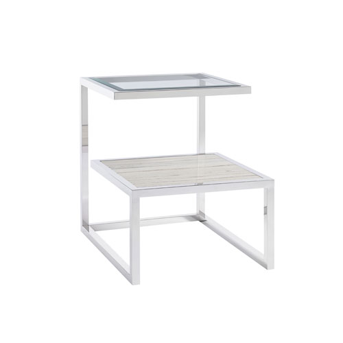 Paradox Ivory End Table with Stone Shelf