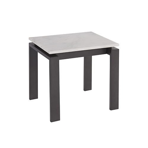Vance White and Black End Table with White Marble Top