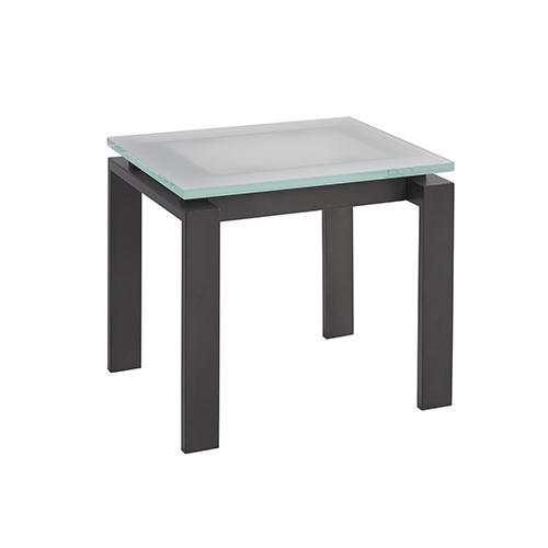 Vance Bronze End Table with Frostd Glass Top
