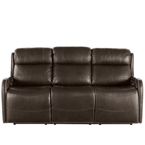 Mayfield Dark Bronze Hudson Iron Leather Motion Sofa