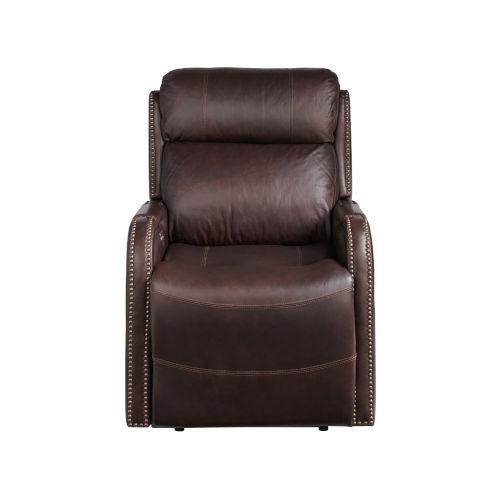 Mayfield Dark Bronze Hudson Umber Leather Motion Chair