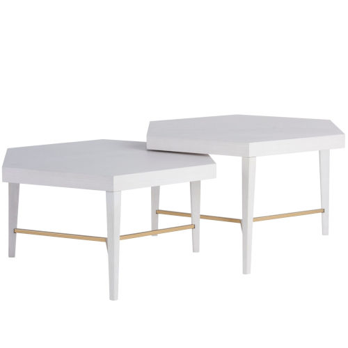 Miranda Kerr Sydney Alabaster and Soft Gold Bunching Cocktail Table, Set of 2