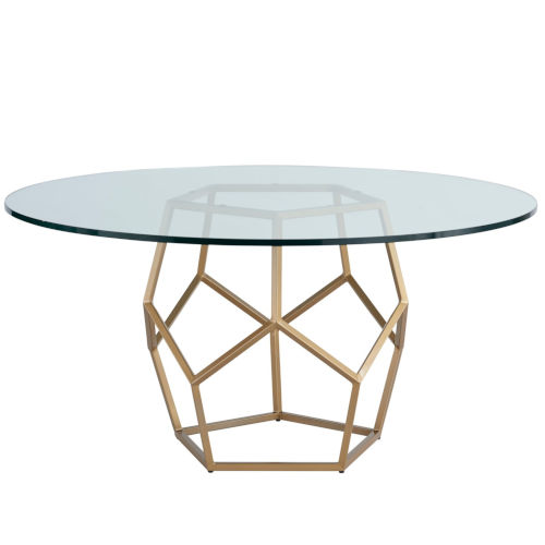 Miranda Kerr Love Joy Bliss Soft Gold Round Table with Glass Top