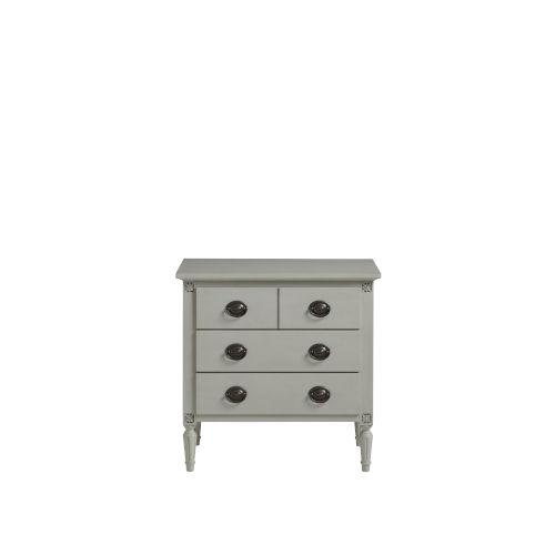 Gray Three-Drawer Wood Nightstand