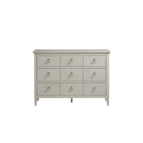 Gray Three-Drawer Wood Dresser