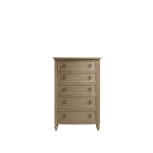 Brown Curved Front Five-Drawer Tall Wood Bedroom Chest