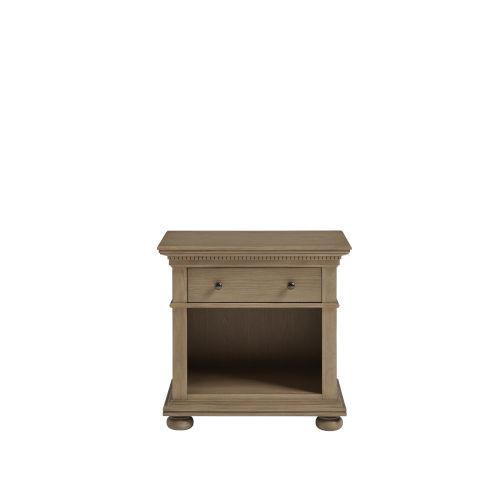 Brown One-Drawer Wood Nightstand