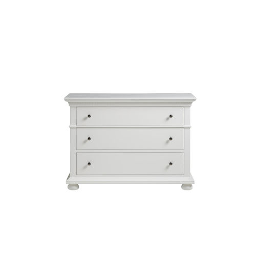 White Three-Drawer Wood Dresser