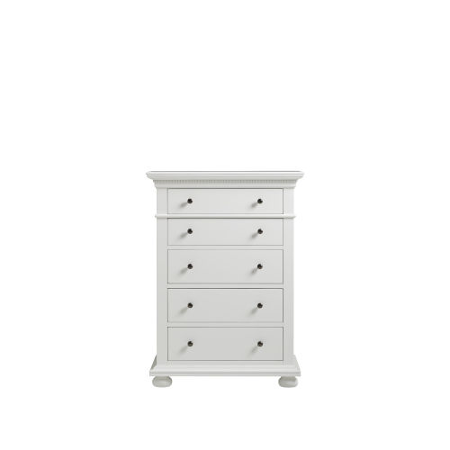 White Five-Drawer Wood Tall Bedroom Chest