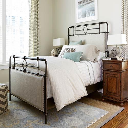 Dogwood Upholstered Metal Complete King Bed