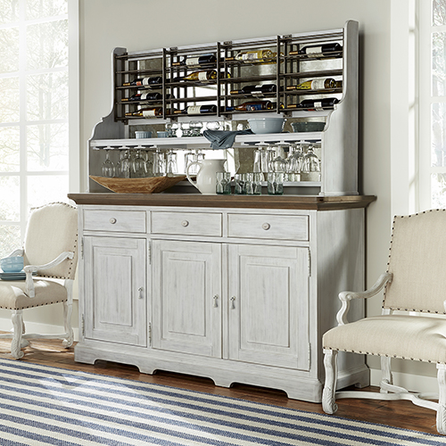 Dogwood White and Grey Credenza with Wine Rack